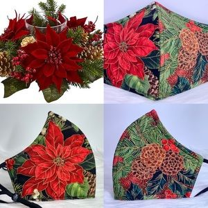 Christmas Poinsettia Designer adult face mask